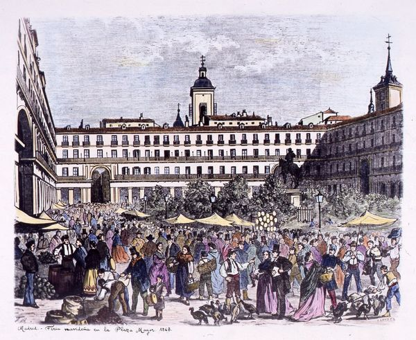 Feria navideña en la Plaza Mayor. 1863