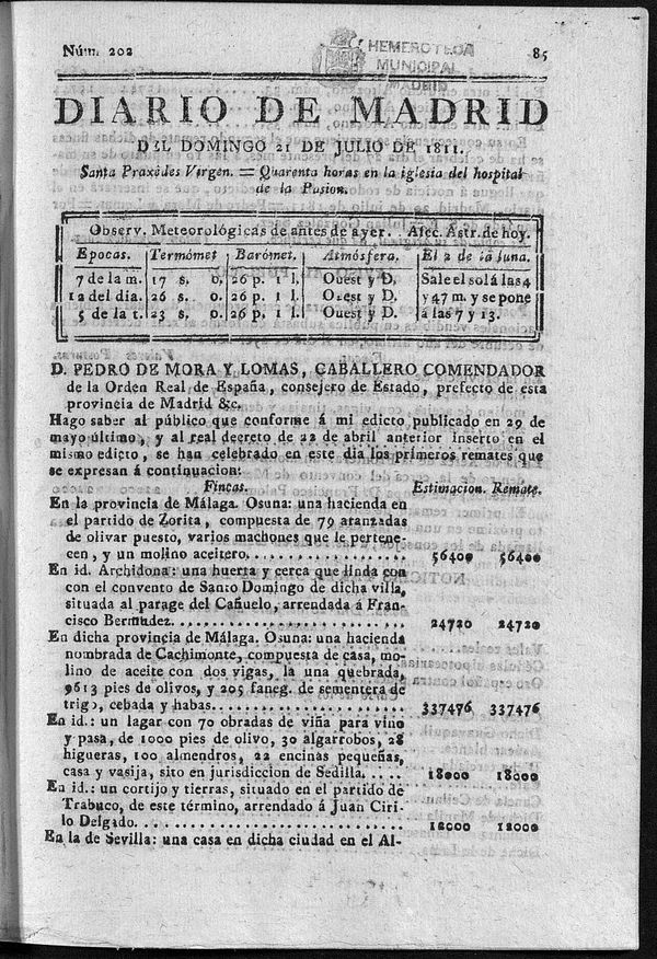Diario de Madrid del domingo 21 de Julio de 1811