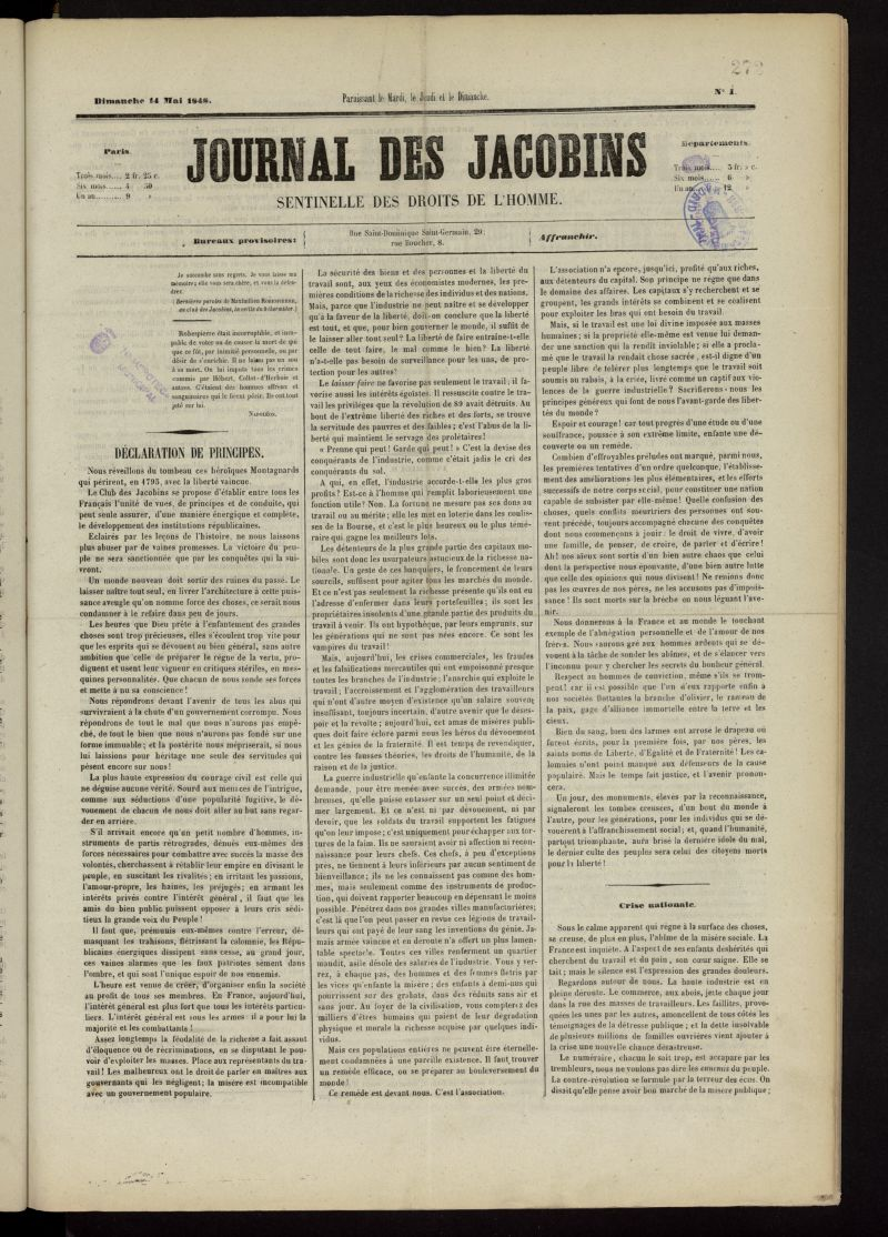 Journal des Jacobins del 14 de mayo de 1848, nº 1